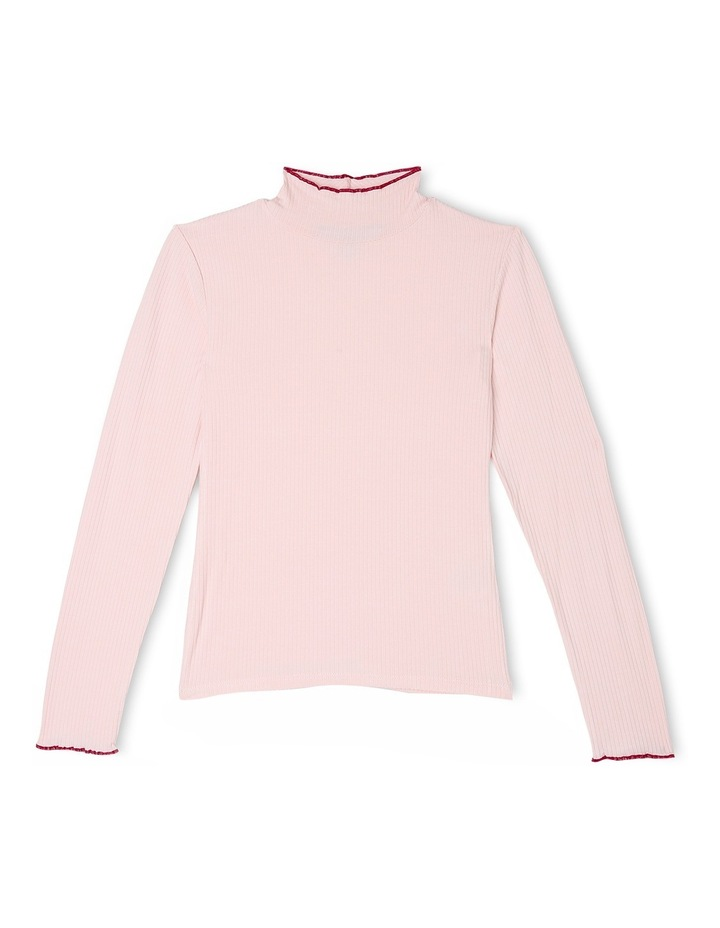 High Neck Rib Tee - Pink image 1