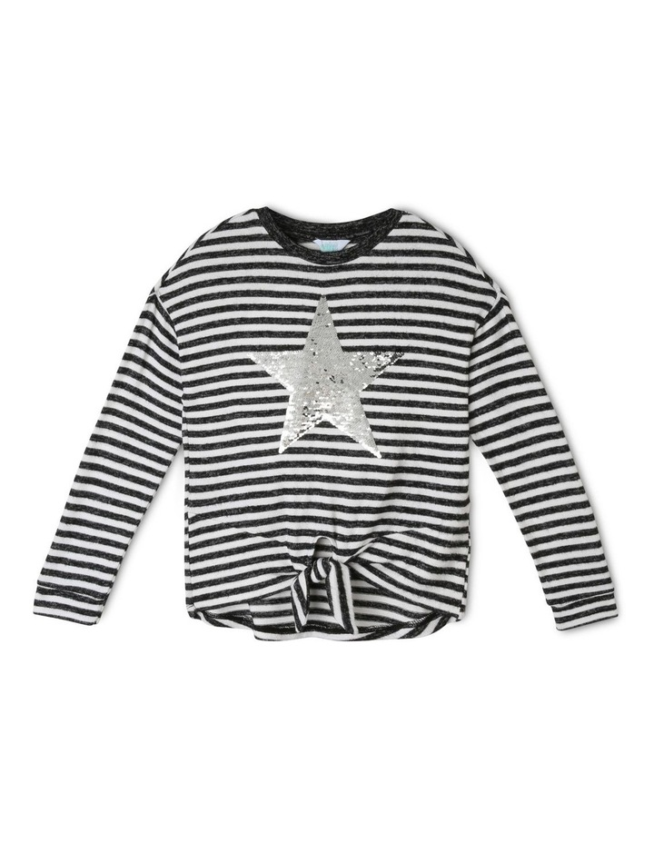Brushed Tie-Front T/shirt with Sequin Star image 1