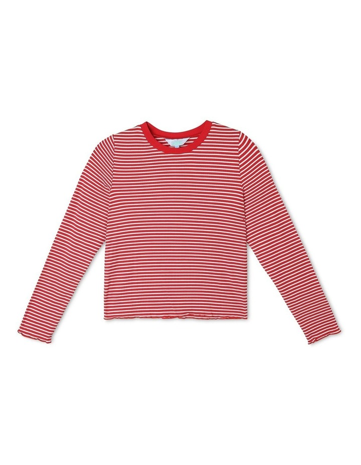 Rib Knit T-Shirt in Red image 1