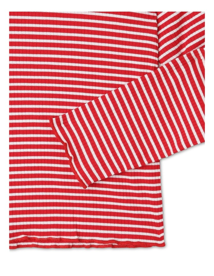 Rib Knit T-Shirt in Red image 3