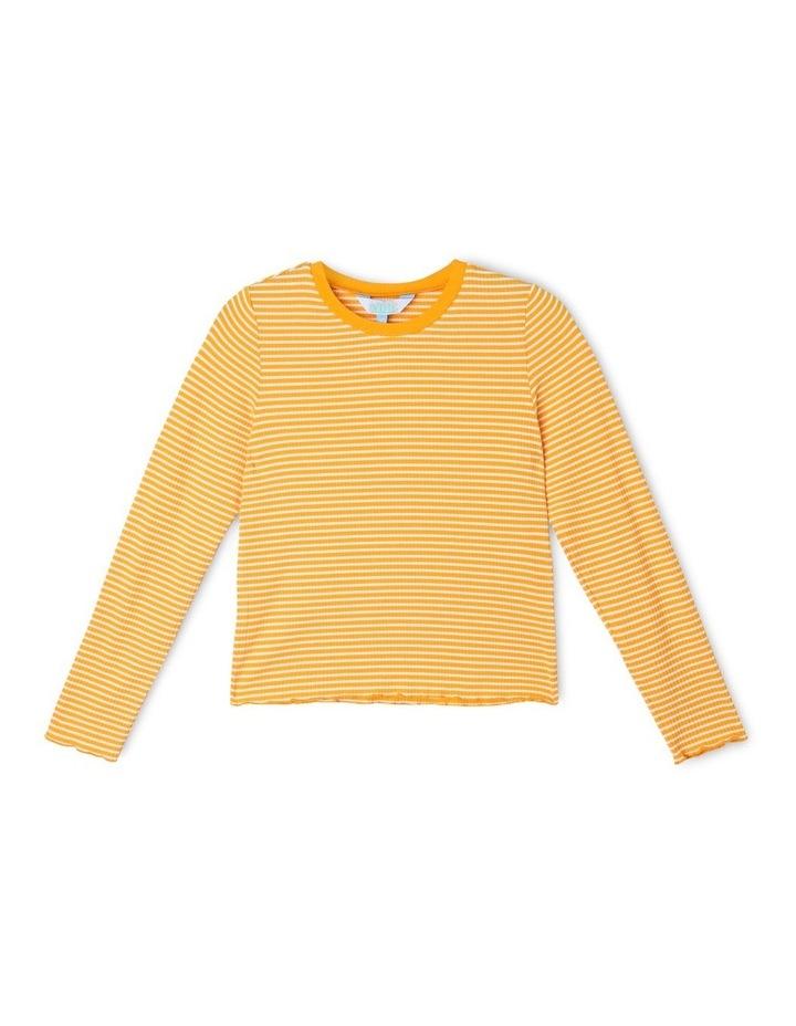 Rib Knit T-Shirt in Mustard Yellow image 1