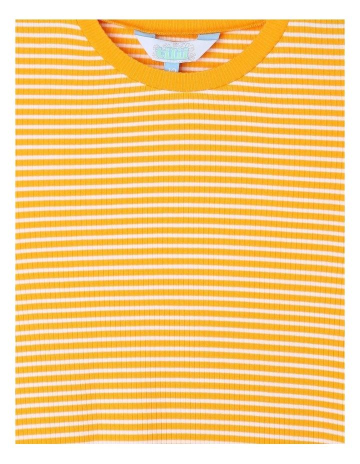 Rib Knit T-Shirt in Mustard Yellow image 2
