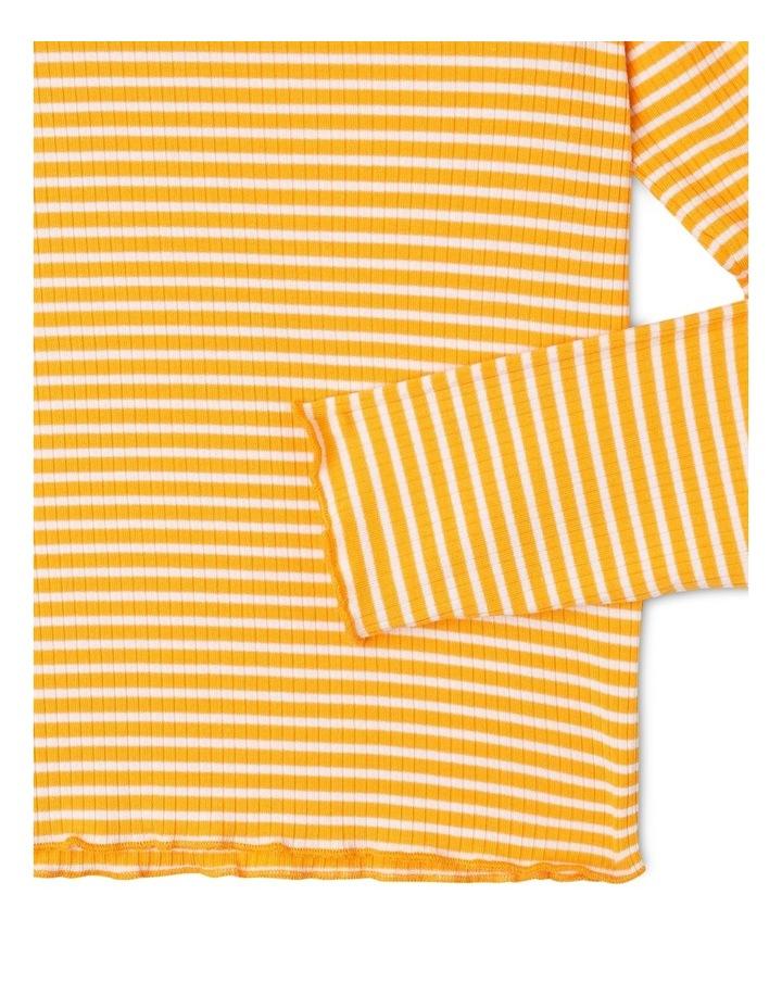 Rib Knit T-Shirt in Mustard Yellow image 3