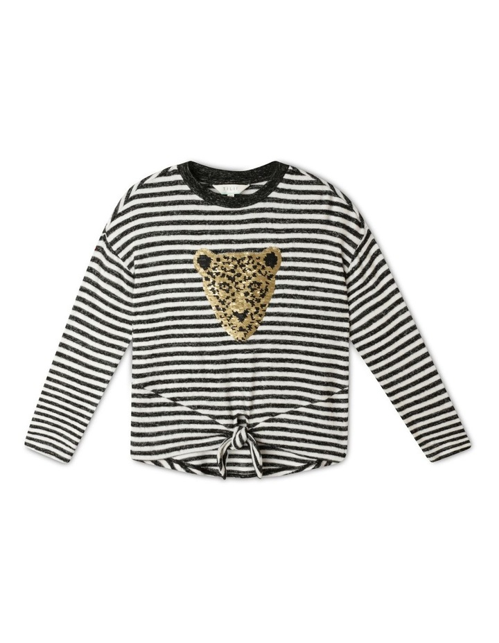 Knit Look Tie Front T-Shirt image 1