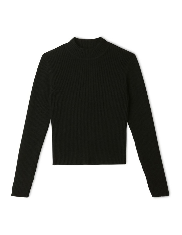 Knitted Rib Top Black image 1