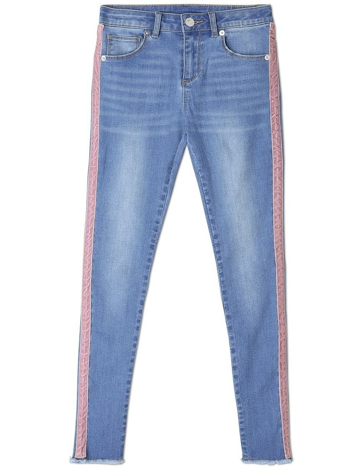Stretch Mid Rise Skinny Jean with Tape image 1