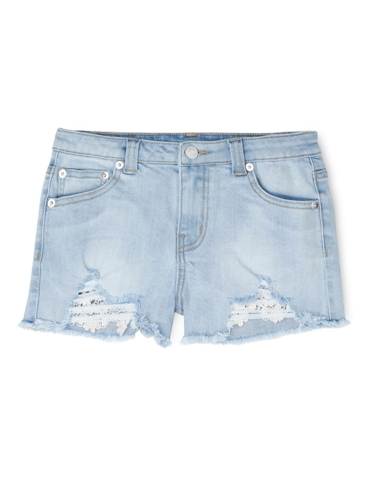 Light Denim Lace Trim Shorts image 1
