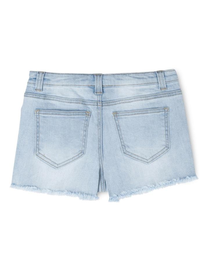 Light Denim Lace Trim Shorts image 2