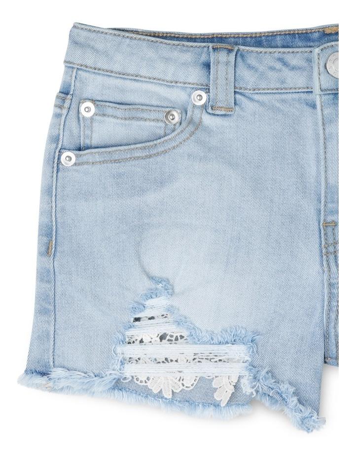 Light Denim Lace Trim Shorts image 3