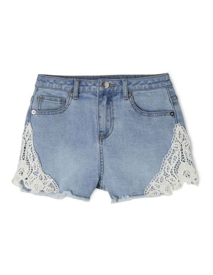 Denim Lace Trim Shorts image 1