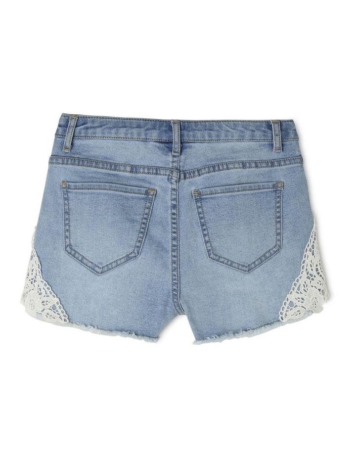 Denim Lace Trim Shorts image 2