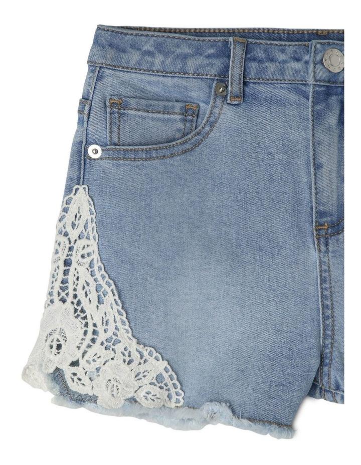 Denim Lace Trim Shorts image 3