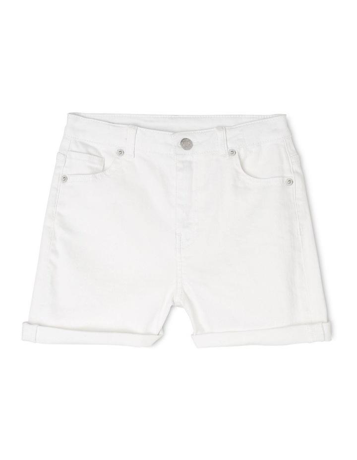 High Waist Denim Shorts - White image 1