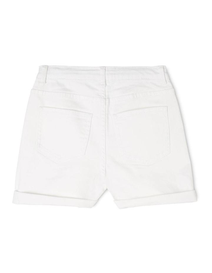 High Waist Denim Shorts - White image 2