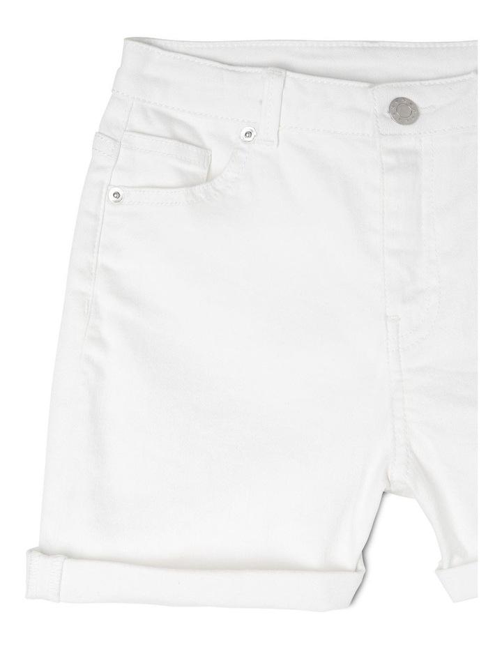 High Waist Denim Shorts - White image 3