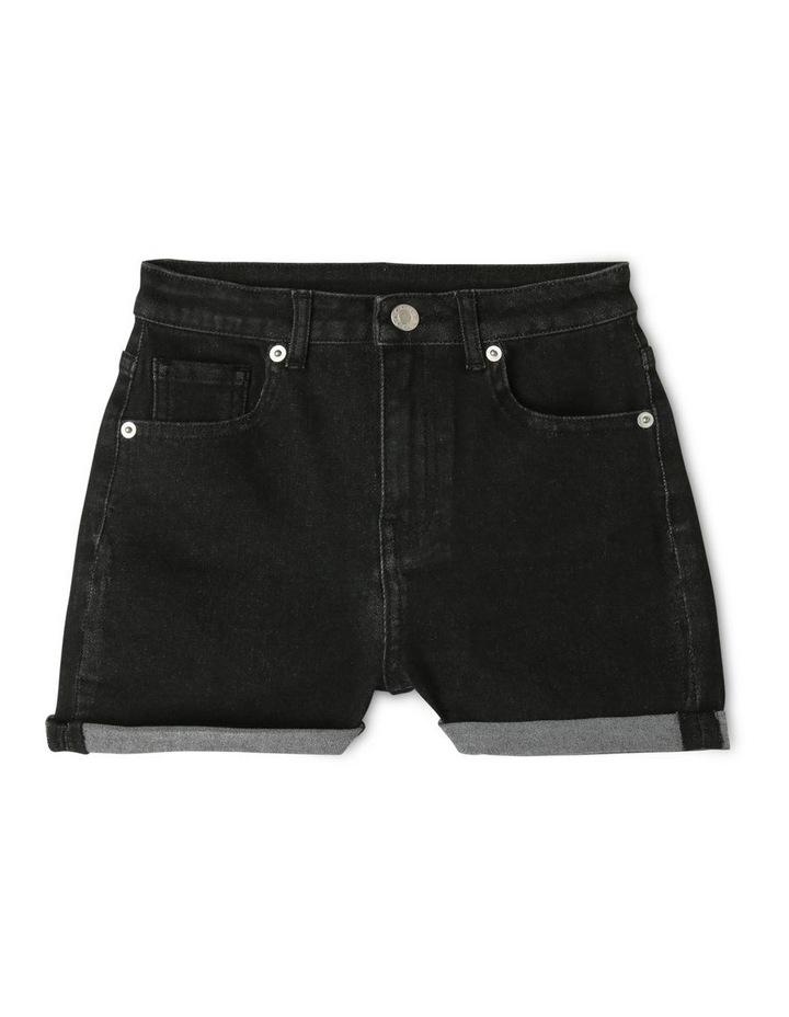Black High-Waist Denim Shorts image 1