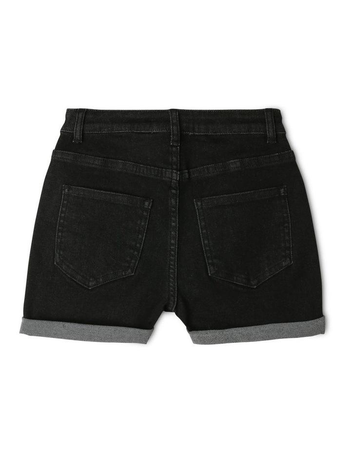 Black High-Waist Denim Shorts image 2