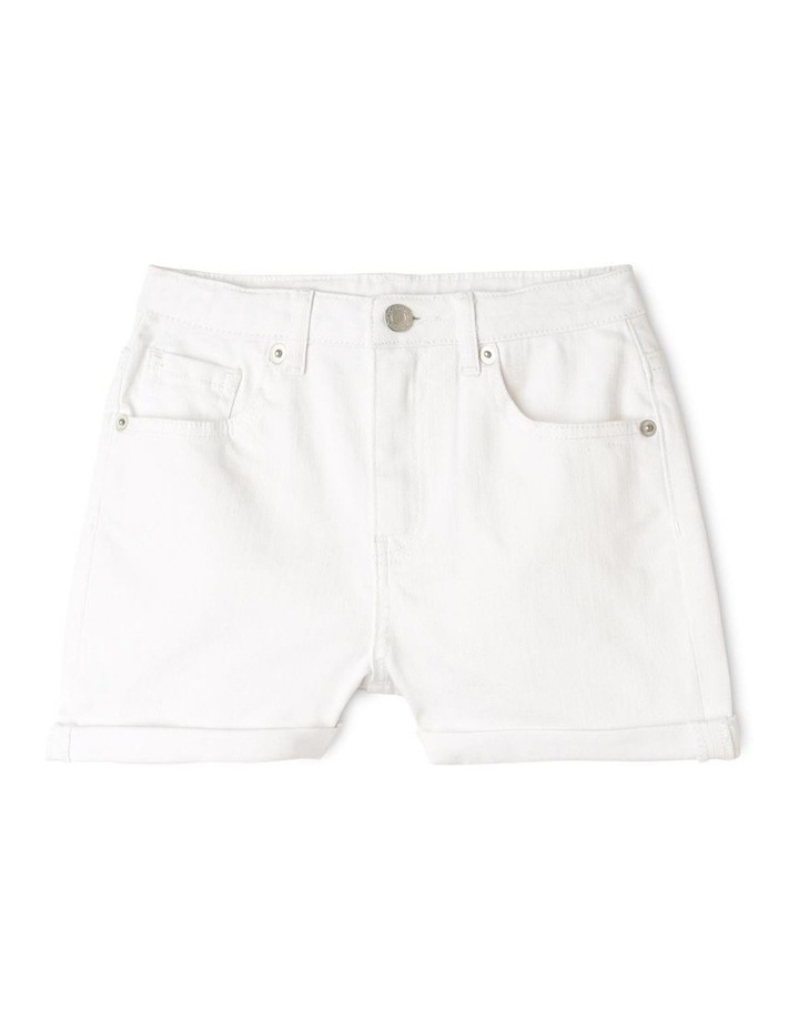White High-Waist Denim Shorts image 1