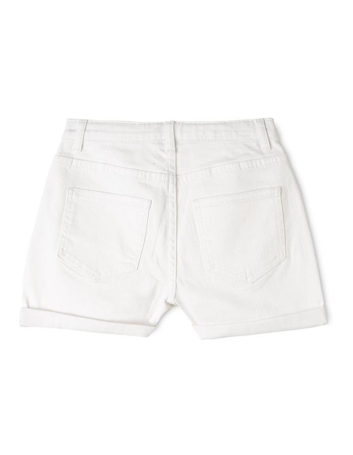 White High-Waist Denim Shorts image 2