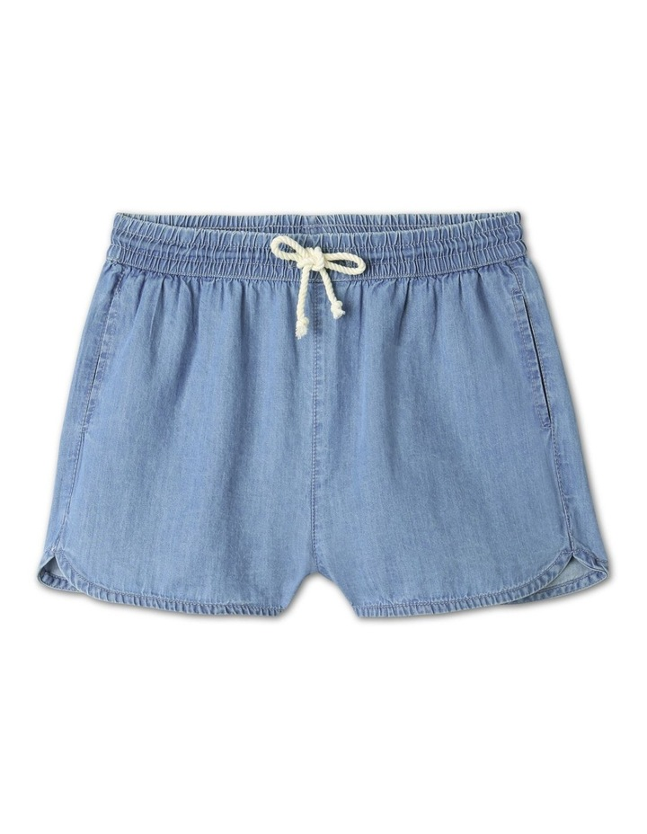 Chambray High-Waisted Denim Shorts Light Blue image 1
