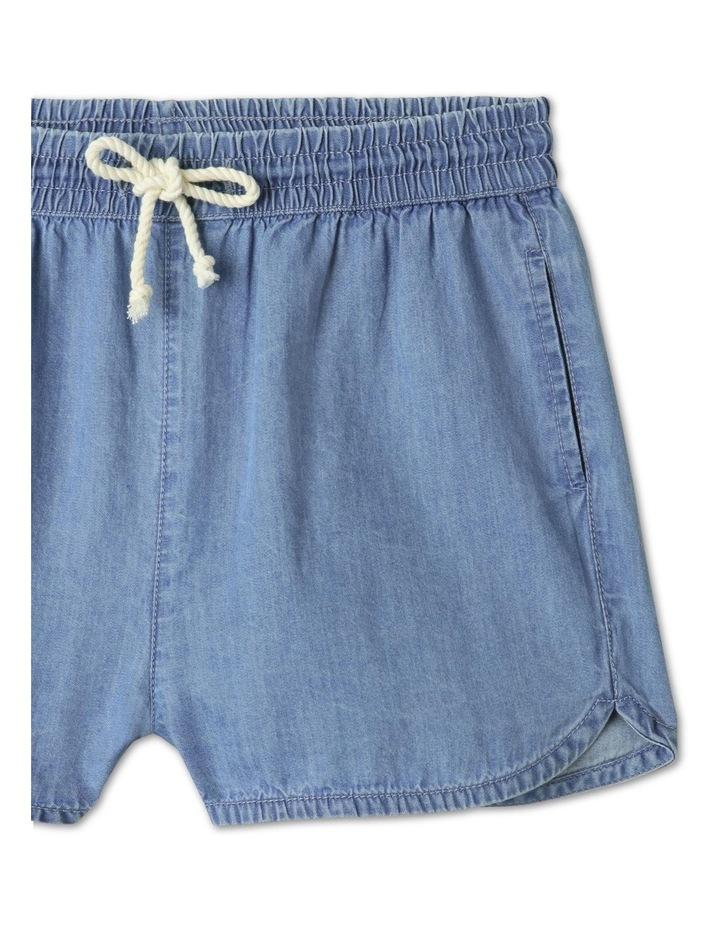 Chambray High-Waisted Denim Shorts Light Blue image 2
