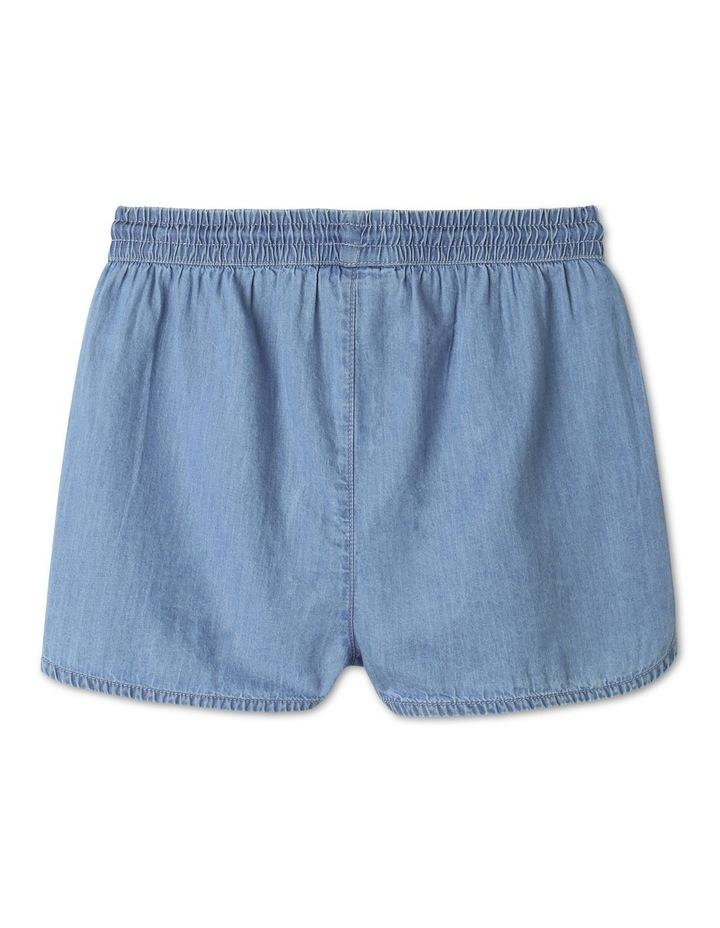 Chambray High-Waisted Denim Shorts Light Blue image 4