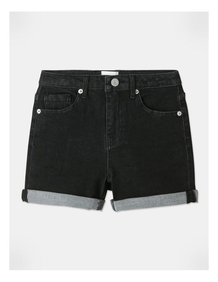 High-Waisted Denim Shorts Black image 1