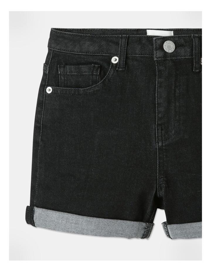 High-Waisted Denim Shorts Black image 2