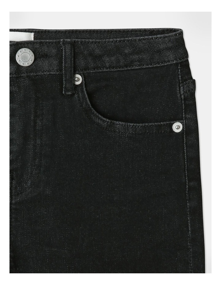 High-Waisted Denim Shorts Black image 3