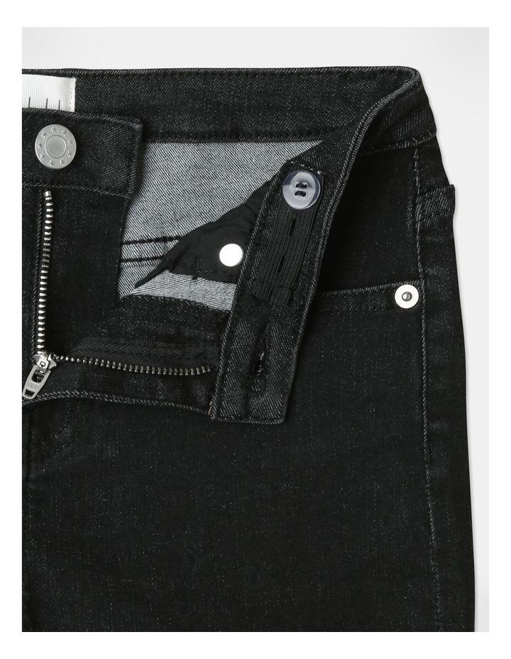 High-Waisted Denim Shorts Black image 4