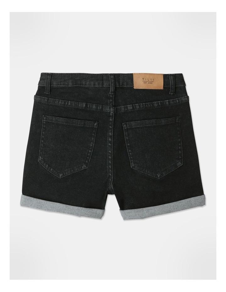 High-Waisted Denim Shorts Black image 5
