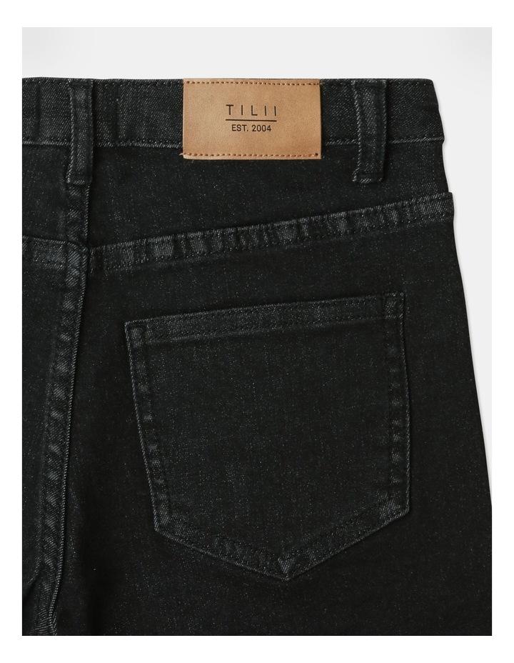 High-Waisted Denim Shorts Black image 6