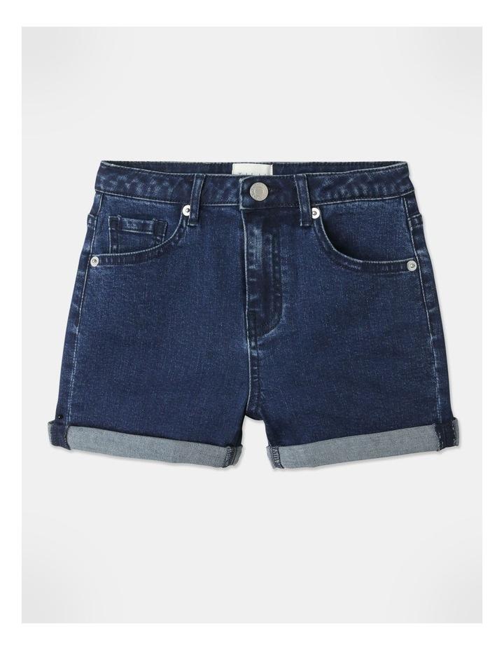 High-Waisted Denim Shorts Indigo image 1