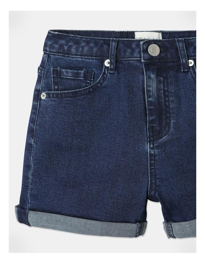 High-Waisted Denim Shorts Indigo image 2