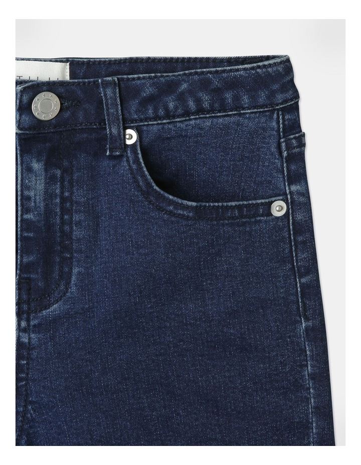 High-Waisted Denim Shorts Indigo image 3