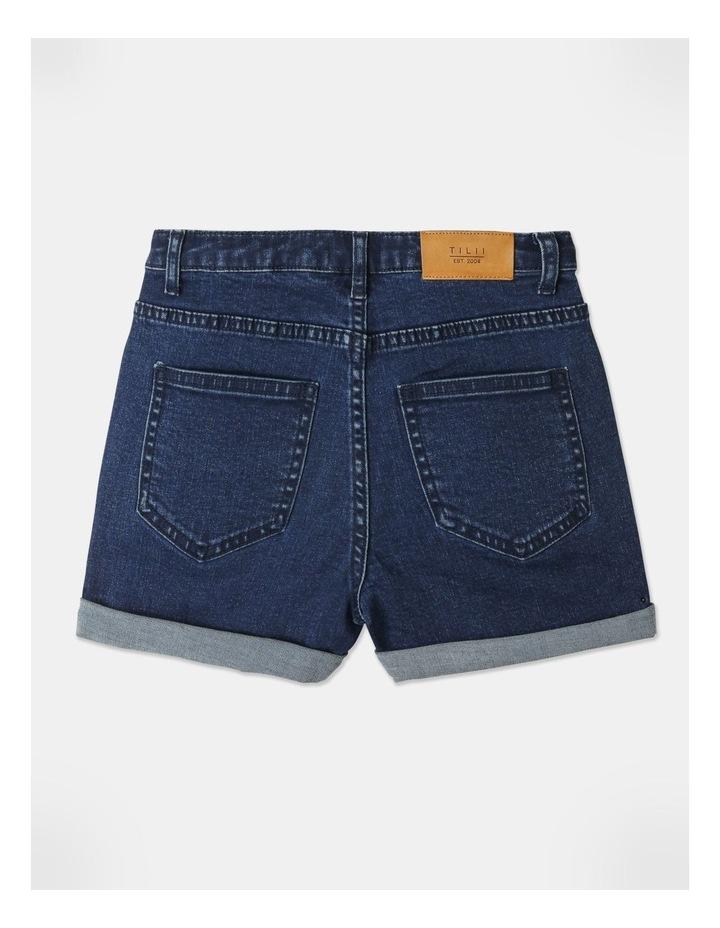 High-Waisted Denim Shorts Indigo image 5