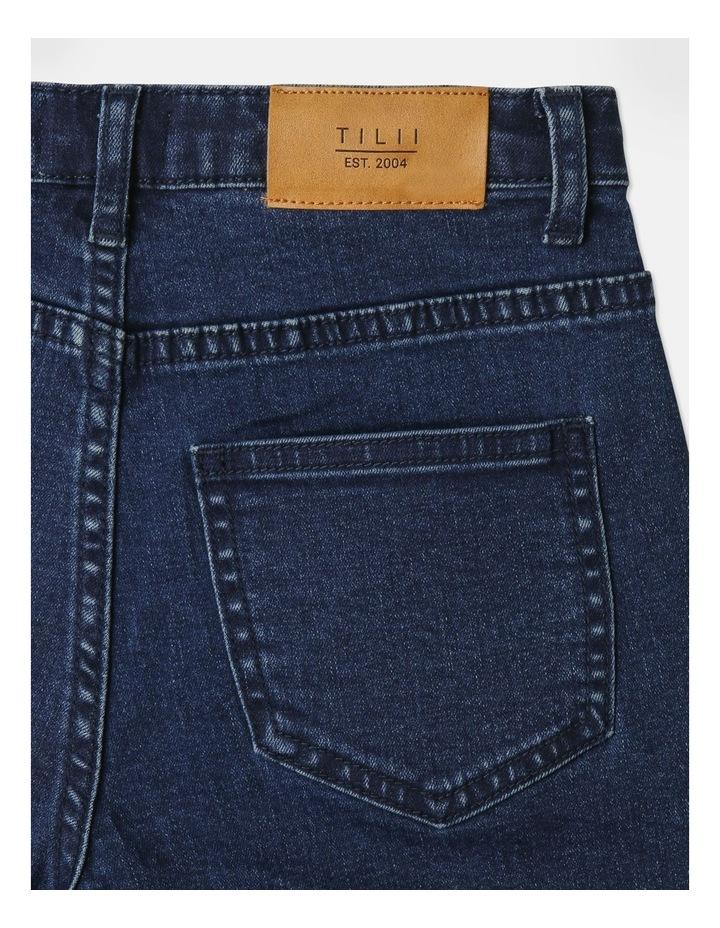 High-Waisted Denim Shorts Indigo image 6