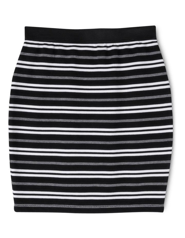Stripe Knit Tube Skirt Black And White image 1