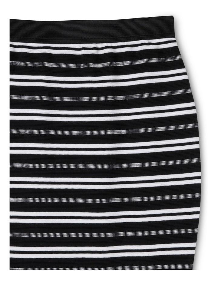 Stripe Knit Tube Skirt Black And White image 2