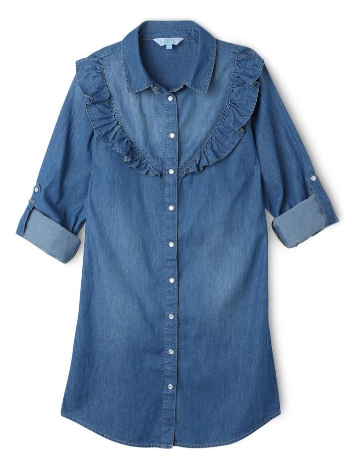 Denim Shirt Dress with Frill image 1