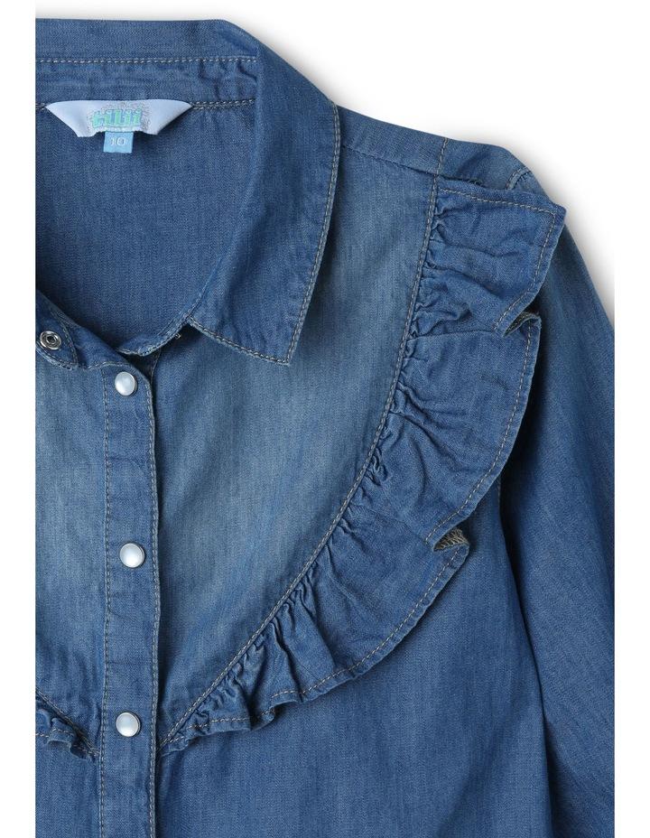 Denim Shirt Dress with Frill image 2