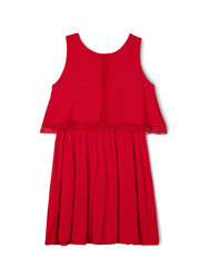 Tilii - Singlet Dress with Lace Trim - Red