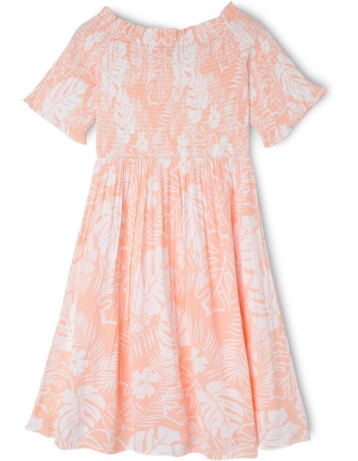 Woven Shirred Bodice Dress - Palm Print image 1