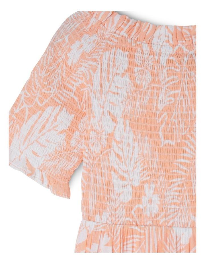 Woven Shirred Bodice Dress - Palm Print image 2