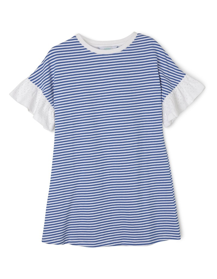 Program Tee Dress with perforated frill sleeves - Blue stripe image 1