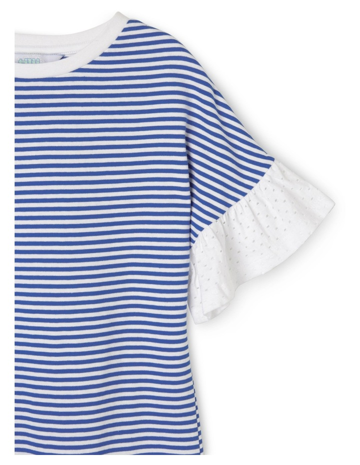Program Tee Dress with perforated frill sleeves - Blue stripe image 2