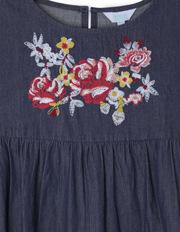 Tilii - Indigo Embroidered Tiered Skirt Dress