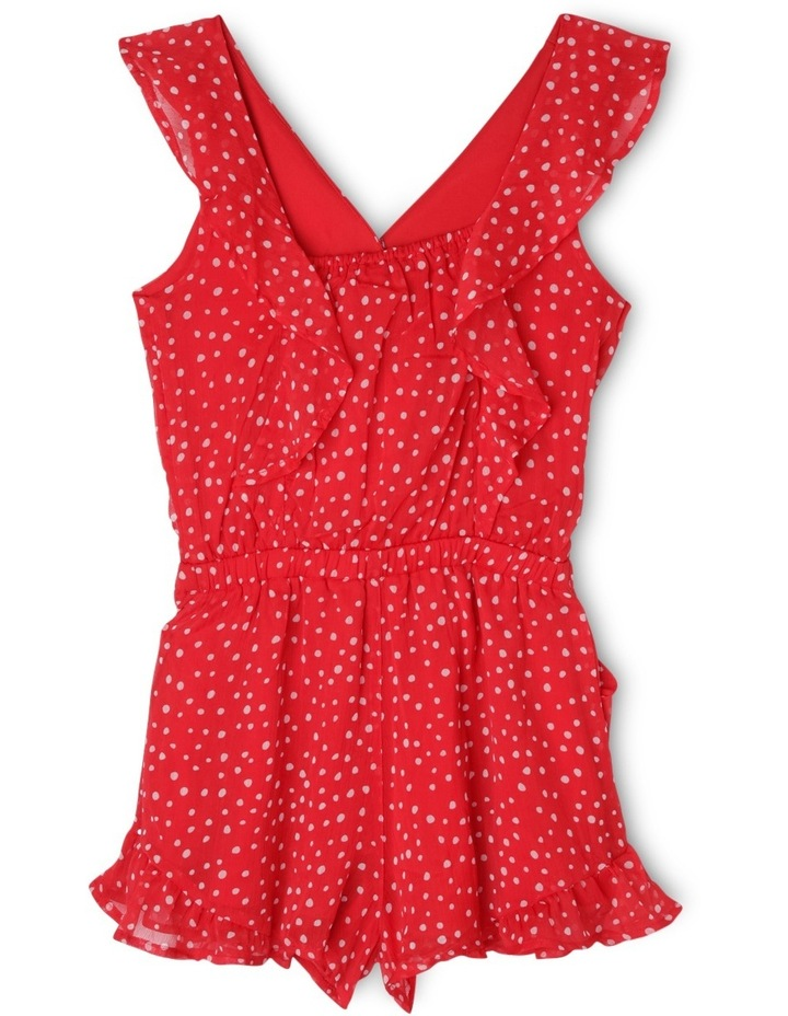 Frill Sleeve Cross Over Playsuit With Spot Print image 2
