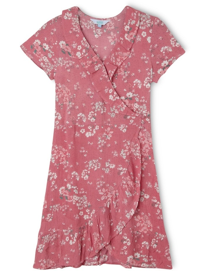 Pink Floral Print Woven Wrap Dress image 1