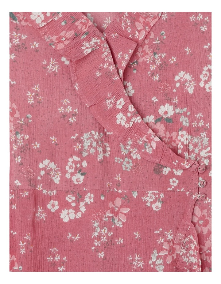 Pink Floral Print Woven Wrap Dress image 2